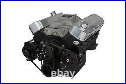 Black Big Block Chevy Long Water Pump V-Belt Kit Power Steering BBC 454 396