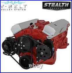 Black SBC V-Belt Kit Power Steering 283 327 350 400 Chevy Small Block