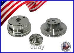 Small Block Chevy Pulley Kit V-Belt 305 327 350 400 SBC LWP 2V