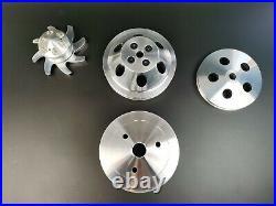 Small Block Chevy V-Belt 2/3 Pulley Kit Short Water Pump 283 305 350 SWP SBC