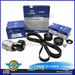 V-Belt & Tensioner & Idler Pulley Kit for 2011-2014 Hyundai Kia 2.0L 2.4L